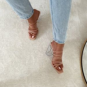Nude Blush Strappy Clear Heel